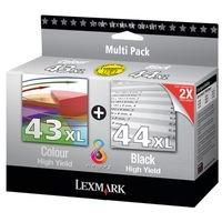 Pack de 2 Cartouches d'Encre XL:<br> 1 Noire n°44<br> 1 Couleur n°43