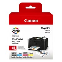 Cartouche 9182B004 pour CANON MAXIFY MB2050 Pack de 4 Cartouches d'Encre PGI1500XL: 1 Noire, 1 Cyan, 1 Magenta, 1 Yellow, 4 x 1 500 copies