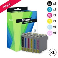 Pack de 10 Cartouches d'Encre:<br> 2 Noires<br> 2 Cyan<br> 2 Magenta<br> 2 Yellow<br> 1 Cyan Clair<br> 1 Magenta Clair,