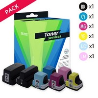 Pack de 6 Cartouches d'Encre:<br>1 Noire<br>1 Cyan<br>1 Magenta<br>1 Yellow<br>1 Cyan Clair<br>1 Magenta Clair,