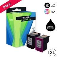 Pack de 4 Cartouches d'Encre XL:<br> 2 Noires XL<br> 2 Couleurs XL,