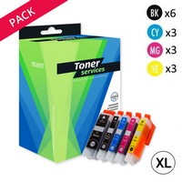 Pack de 15 cartouches d'encre XL:<br> 3 Noires<br>3 Photo Noir<br>3 Cyan<br>3 Magenta<br>3 Yellow,