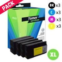 Pack de 12 Cartouches d'Encre:<br>3 Noires<br>3 Cyan<br>3 Magenta<br>3 Yellow,