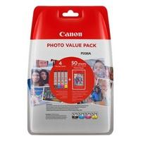 Pack de 4 Cartouches d'Encre + 50 Papiers Photo 10x15cm: <br> 1 Noire<br> 1 Cyan<br> 1 Magenta<br> 1 Yellow,