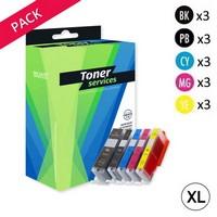 Pack de 15 Cartouches d'Encre:<br>3 Noires XL<br>3 Noires<br>3 Cyan<br>3 Magenta<br>3 Yellow,