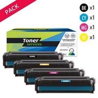 Pack de 4 Toners:<br>1 Noir<br>1 Cyan<br>1 Magenta<br>1 Yellow,