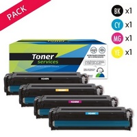 Pack de 4 Toners Toner Services:<br>1 Noir<br>1 Cyan<br>1 Magenta<br>1 Yellow,