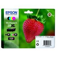 Pack de 4 Cartouches d'Encre Epson 29XL EASYMAIL C13T29964511Fraise:<br>1 Noire XL, <br>1 Cyan XL <br>1 Magenta XL<br>1 Yellow XL,